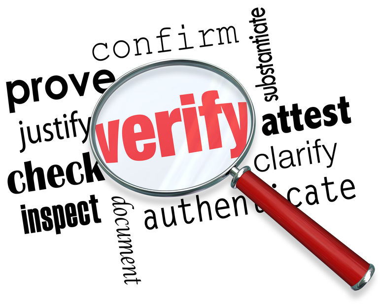 "Magnifying glass looking at the word ""Verify"""